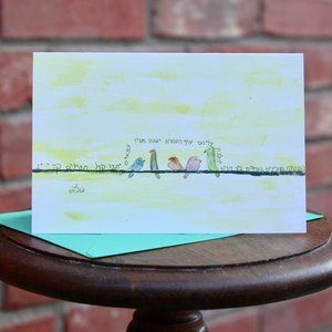 Greeting Cards- Singing Birds with Hebrew